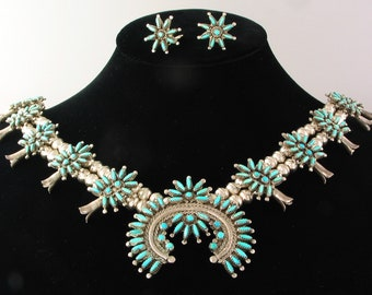 Turquoise and Sterling Zuni Petit Point Squash Blossom Necklace with clip-on earrings, never worn