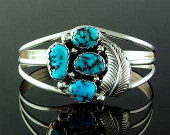 Ladie's size Medium Navajo Sterling 4 Stone Turquoise Cuff Bracelet, never worn