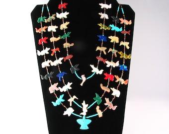 "3 Strand Navajo Fetish Multi Stone Necklace 30"" long, never worn"