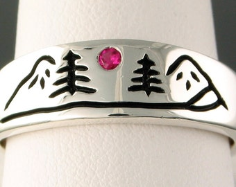 Mountain River Ring in Sterling Silver with 2mm Ruby