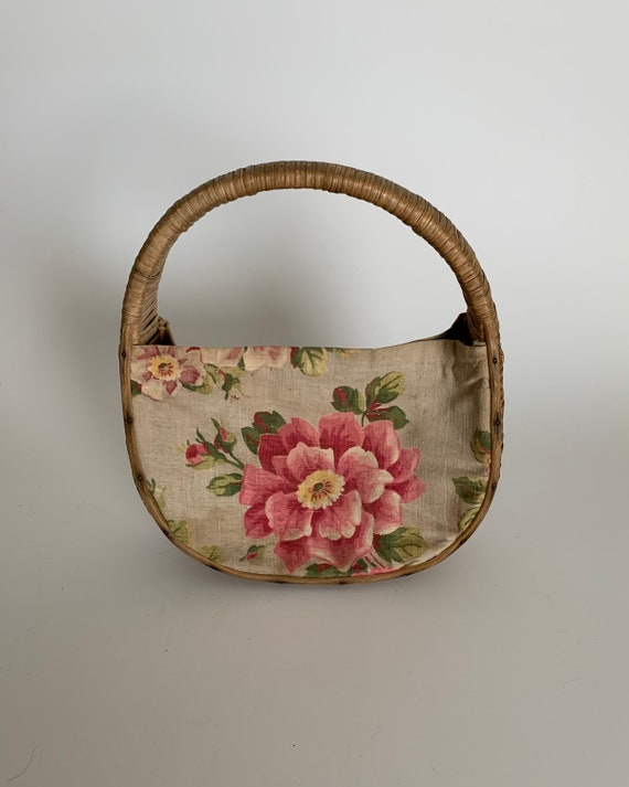 Vintage 1940's Straw Wicker Basket Purse Bag with