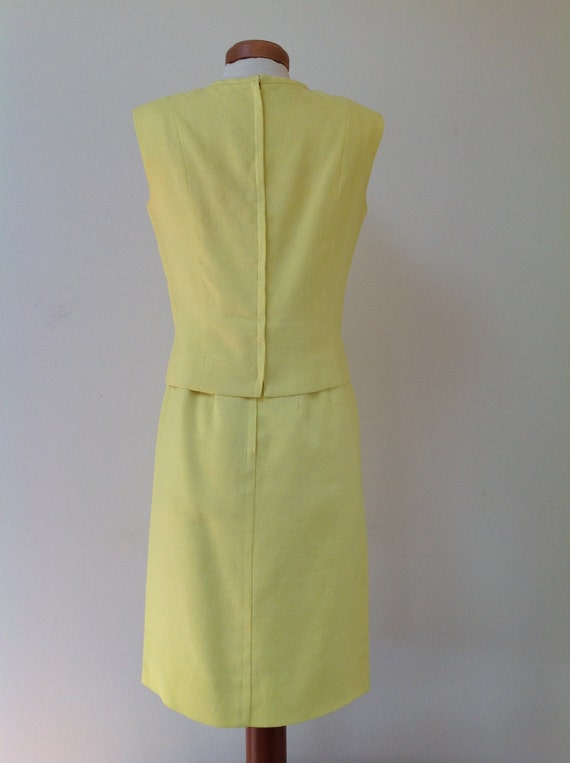 1960's Adele Martin Bright Yellow Linen Dress - image 3