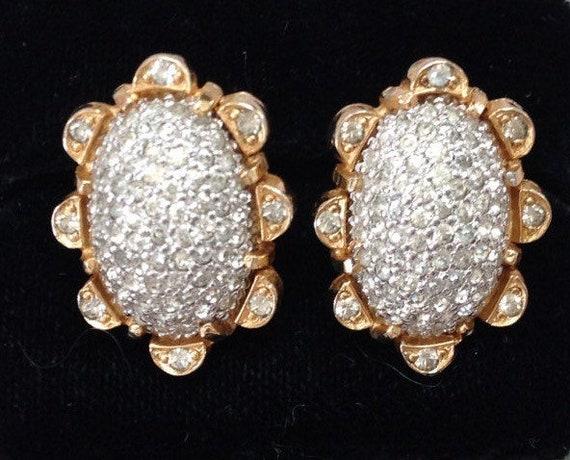 NETTIE ROSENSTEIN Rhinestone Earrings