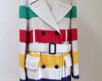 Vintage Hudson's Bay Wool Blanket Belted Striped Coat