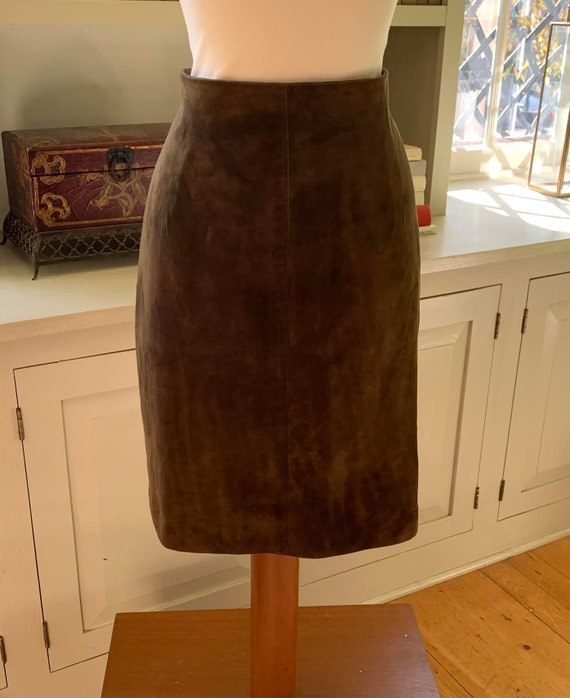 Vintage Burberry's Brown Lamb Suede Skirt