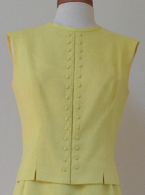 1960's Adele Martin Bright Yellow Linen Dress - image 4