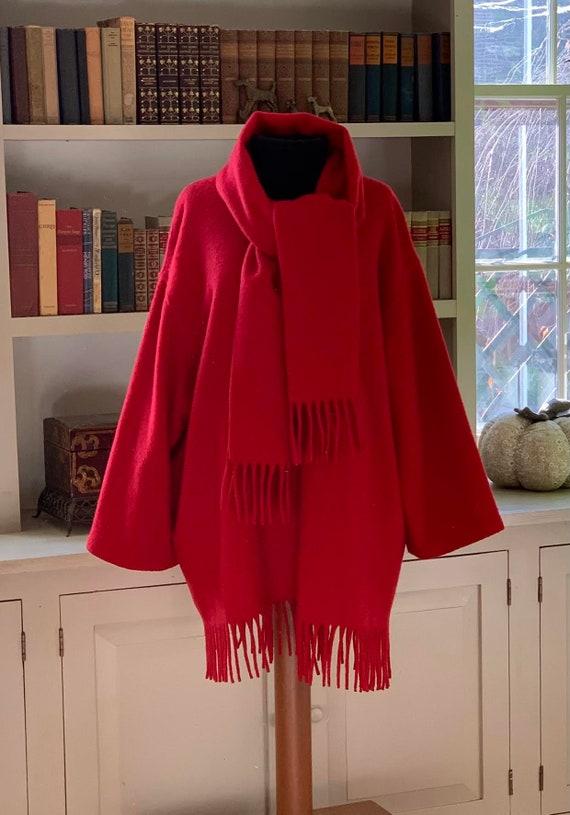 Vintage PENDLETON Red Wool Scarf Cape