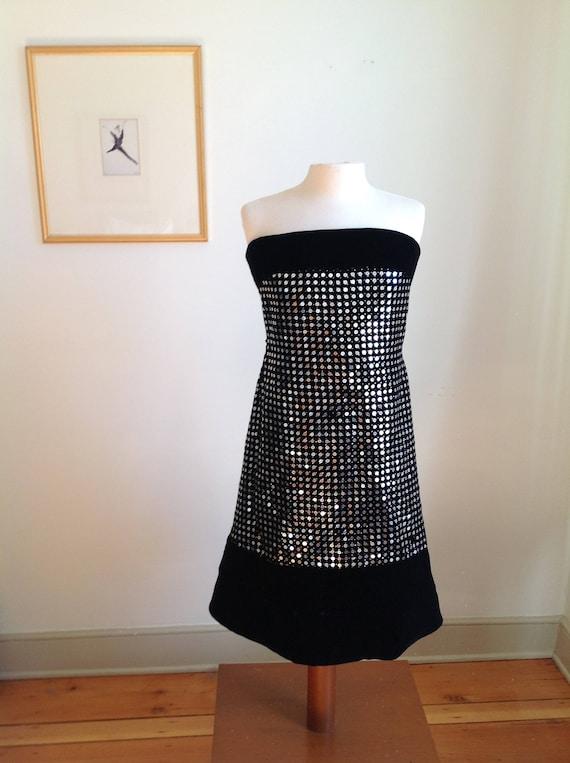 Vintage Strapless Black Velvet Sequin Scaasi Bout… - image 1