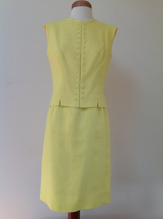 1960's Adele Martin Bright Yellow Linen Dress