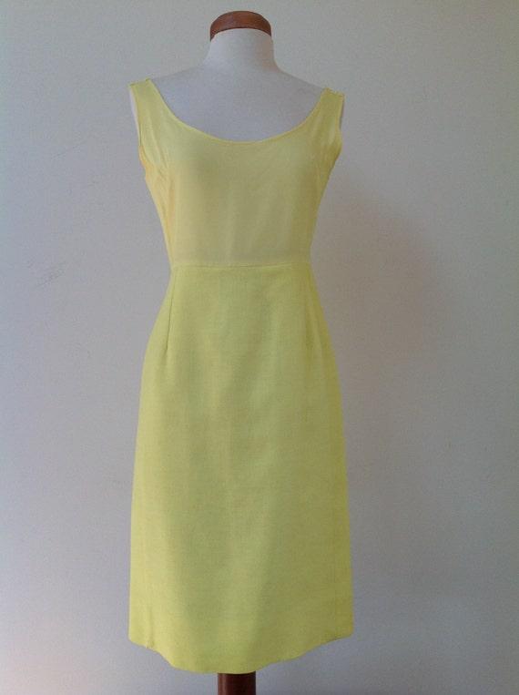 1960's Adele Martin Bright Yellow Linen Dress - image 2