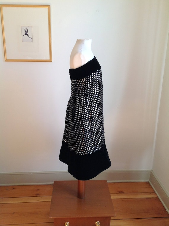 Vintage Strapless Black Velvet Sequin Scaasi Bout… - image 4