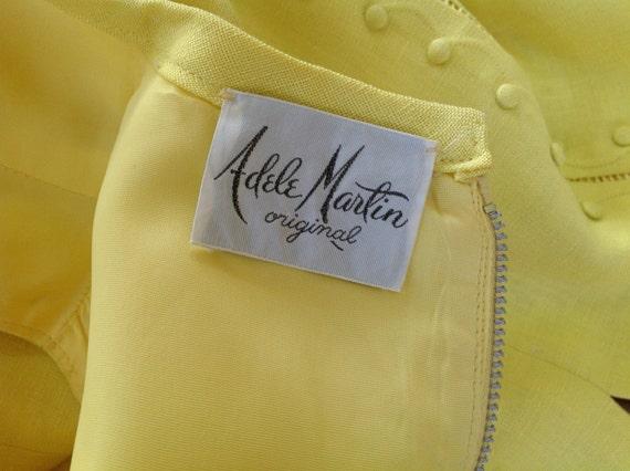 1960's Adele Martin Bright Yellow Linen Dress - image 5