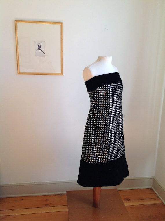 Vintage Strapless Black Velvet Sequin Scaasi Bout… - image 3