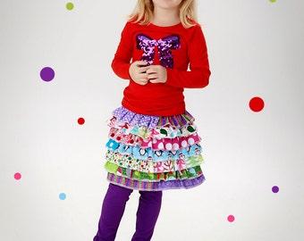 Little Girls Christmas Skirt Winter Skirt Holiday Skirt Ruffle Skirt Holiday Ruffled Skirt Little Girls Rainbow Skirt,, 6 Month to Size 12