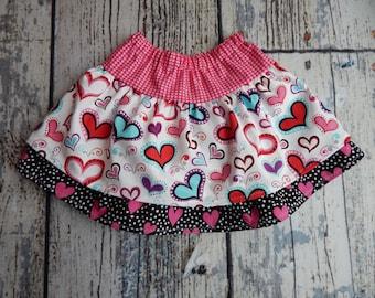 Heart Skirt Valentine Skirt Girls Valentine Skirt Layered Skirt Doll Skirt Pink Ruffled Skirt , 12 months to Size 14