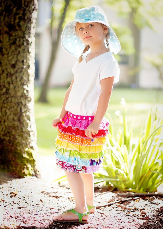 Little Girls Rainbow Skirt Easter Skirt Ruffled Skirt Birthday image 1