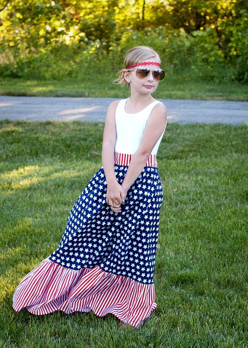 57a0dccbfc Red White and Blue Maxi Dress Patriotic Maxi Dress July 4th