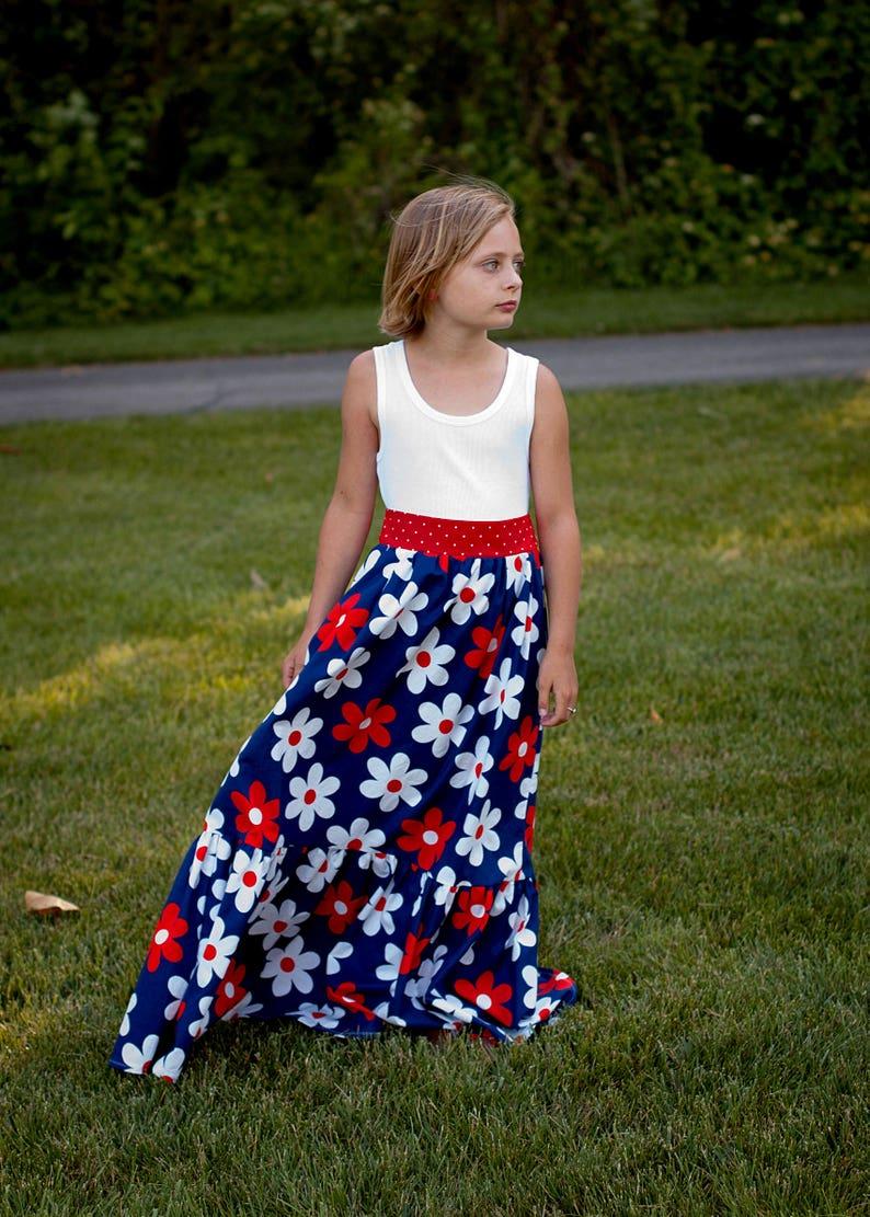 146831e6030 Flower Maxi Red White Blue Maxi Dress Patriotic Maxi Dress