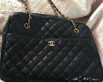5a3421fb8f15f1 Genuine Chanel camera bag lambs leather black