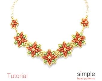 Beaded Poinsettia Necklace Pattern, Christmas Necklace Beading Pattern Tutorial, SuperDuo Beadweaving Pattern, Simple Bead Patterns, P-00080