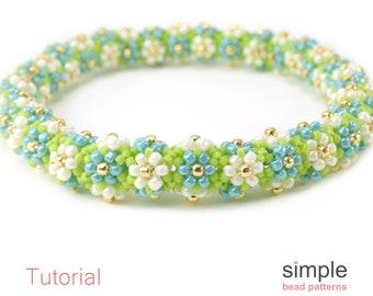 Daisy Chain Beaded Bracelet Tutorial, Daisy Stitch Beaded Bangle Bracelets, Beadwork Jewelry Making, Beadweaving Seed Bead Patterns, P-00115