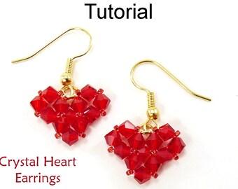 Simple Bead Patterns - Earrings Beading Pattern Tutorial - Valentines Jewelry - Simple Bead Patterns - Crystal Heart Earrings #4593