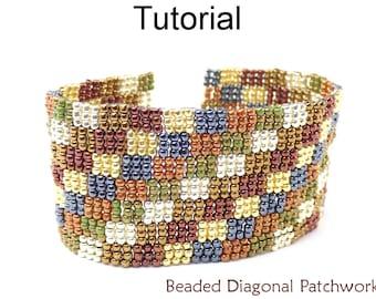 Beading Pattern Tutorial, Beaded Seed Bead Bracelet Pattern, 3-Drop Peyote Stitch, Simple Bead Patterns, Beaded Diagonal Patchwork,  P-00026