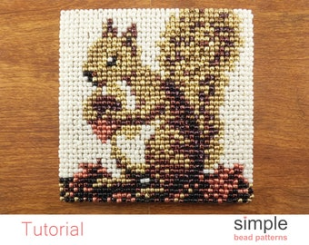 Squirrel Coaster Beaded Coasters Pattern, Bead Point, Easy Beaded Home Decor, DIY Beaded Gift for Squirrel Lovers, Bead Needlepoint, P-00012