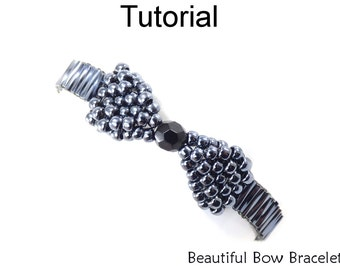Beading Pattern Tutorial - Holiday Bracelet Jewelry Making - Beaded Bow Bracelet - Simple Bead Patterns - Beautiful Bow Bracelet #18098