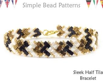 Tila Bead Pattern, Half Tila Beaded Bracelet Patterns, Beading Patterns for Bracelets, Herringbone Bead Stitch, Bead Weaving Pattern P-00347