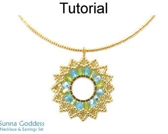 Beaded Hoop Earrings Pattern, Seed Bead Necklace Earrings Patterns, Brick Stitch Earrings Beading Pattern, Bead Weaving Patterns,  P-00376