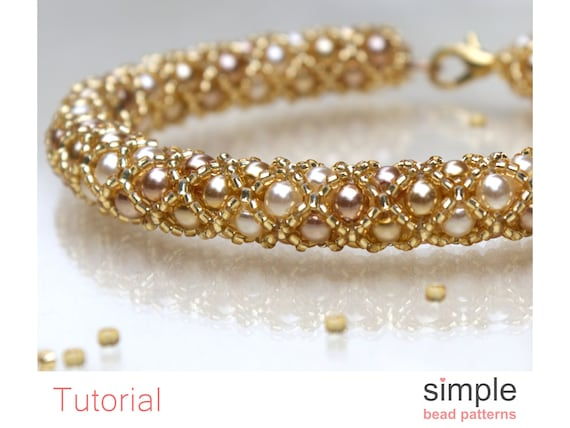 Simple Bead Patterns Jewelry Making for Adults and Beginners P-00289 Beading Pattern Beaded Tube Bracelet  Necklace Bead Weaving Pattern