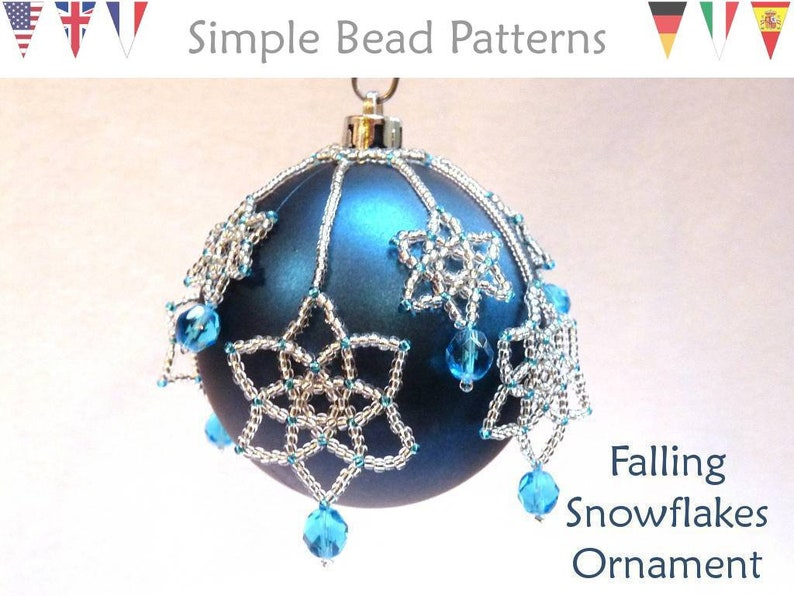Beading Tutorial Pattern Beaded Christmas Ornaments Snowflakes Holiday Decor Simple Bead Patterns Falling Snowflakes 96