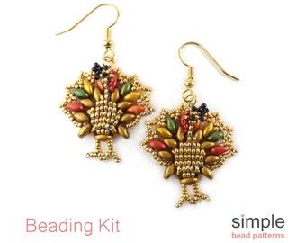 Beaded Turkey Earrings Kit, Beaded Gift for Jewelry Maker, Bead Weaving Kit, Earring Beading Kit, Earrings Kit, Bead Kit for Adults, K-00119