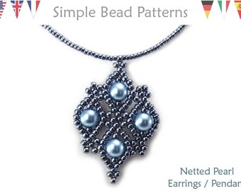 Jewelry Making Beading Pattern - Beaded Earrings and Necklace - Simple Bead Patterns - Netted Pearl Earrings & Pendant Necklace #324
