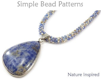 DIY Necklace Tutorial - Gemstone Pendant Jewelry Making - Cubic Right Angle Weave - CRAW - Simple Bead Patterns - Nature Inspired #383