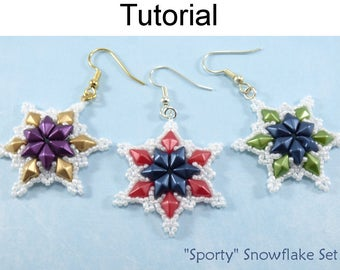 """Beaded Snowflakes - Beading Tutorials and Patterns - DiamonDuo Two Hole Beads - Earrings & Necklace - """"Sporty"""" Snowflake Set #28000"""