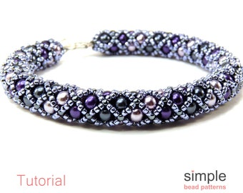 Beading Pattern Beaded Tube Bracelet / Necklace, Bead Weaving Pattern, Simple Bead Patterns, Jewelry Making for Adults and Beginners P-00289