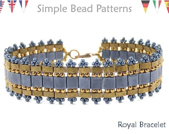 Tila Bead Bracelet Pattern using Miyuki Tila Beads, Half Tila Beads, and Seed Beads, Beaded Bracelet Pattern, Beadweaving Tutorial, P-00330