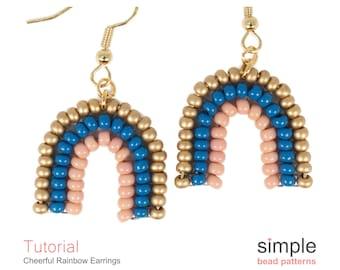 Beaded Rainbow Earrings Pattern, Beadweaving Tutorial Seed Bead Earrings, Beaded Earrings, DIY Earrings, Pattern for Beaded Earrings P-00460