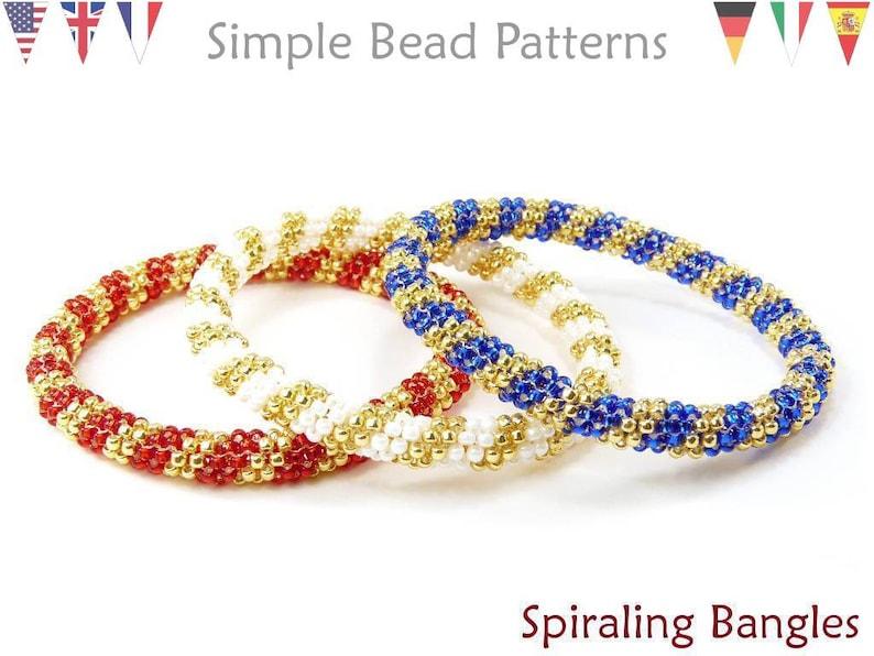 58d80cc9519 Beading Patterns and Tutorials Beaded Bangle Bracelets | Etsy