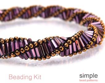 Bugle Bead Bracelet Making Kit, Jewelry Making Kit for Adults, Beadweaving Kit, Jewelry Kit, Bracelet DIY Kit, Bracelet Beading Kit, K-00131