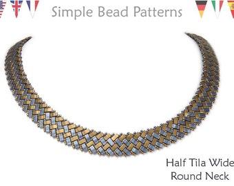 Half Tila  Beaded Necklace Patterns, Bead Weaving Necklace Beading Pattern, Half Tila Bead Patterns, Beaded Collar Necklace Pattern, P-00204