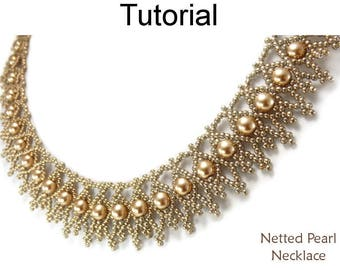 Beadweaving Tutorial - Beaded Pearl Necklace Pattern - Jewelry Making - Netting Stitch - Simple Bead Patterns - Netted Pearl Necklace #25367