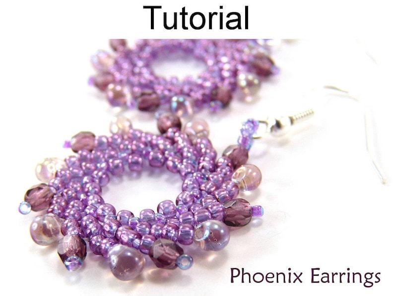 Beaded Earrings Pattern - Jewelry Making Tutorials - Beading - St   Petersburg Stitch - Simple Bead Patterns - Phoenix Earrings #3331