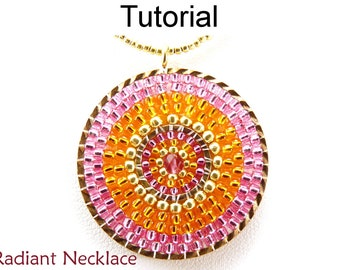 Beading Tutorials and Patterns - Brick Stitch Pendant Necklace - Jewelry Making - Simple Bead Patterns - Radiant Necklace #175