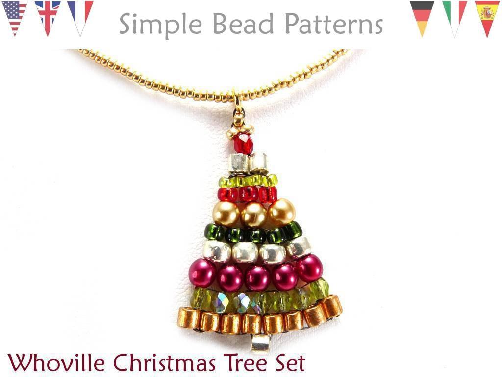 Aretes de árbol de Navidad con cuentas en español patrón de | Etsy