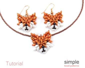 Beaded Fox SuperDuo Beading Pattern Tutorial - Jewelry Making Earrings Necklace - 3D Animals - Simple Bead Patterns - Woodland Fox #352