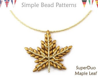 Autumn Beaded Maple Leaf Necklace SuperDuo Bead Patterns, Necklace Beading Tutorial Pattern, DIY Fall Jewelry, Bead Weaving Patterns P-00385