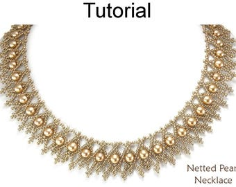 Beading Tutorials and Patterns - Beaded Pearl Necklace - Netting Stitch - Simple Bead Patterns - Netted Pearl Necklace #25367